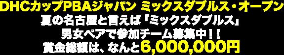 DHCカップPBAジャパン ミックスダブルス・オープン夏の名古屋と言えば「ミックスダブルス」男女ペアで参加チーム募集中!!賞金総額は、なんと6,000,000円